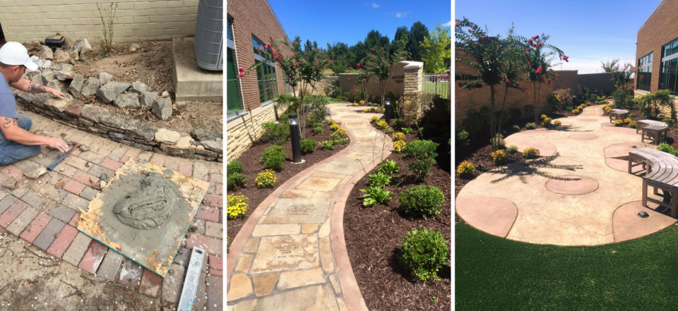 Our landscaping work includes trees, mowing grass, installing sprinklers, concrete, stone work, and more!